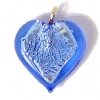 Glass Lamp Pendant Heart 13mm Sapphire/Silver
